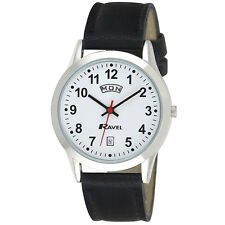 Ravel Mens Big Number Day Date Watch With Black Faux Leather Strap Silver Tone