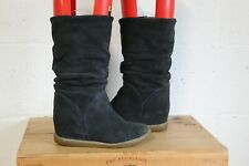 BLUE SUEDE WEDGE HEEL ANKLE BOOTS SIZE 5 / 38 BY NEXT USED CONDITION