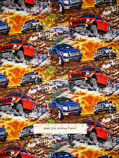Ford Truck Off Road Cotton Fabric Print Concepts Tough Trucks Scenic - HALF-YARD