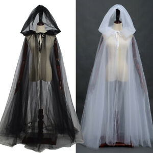 Medieval Gothic Witch Cosplay Black Cape Hooded Cloak Halloween Party Costume