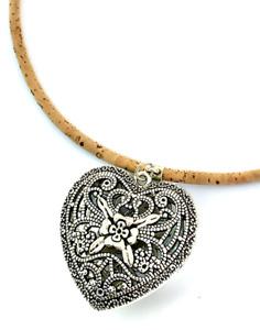 Vintage Heart Cork Necklace  / Natural Eco Vegan Necklace / Pendant /Ladies Gift