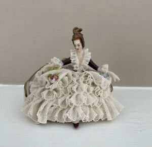 Antique Dresden Lace Figurine Germany Woman on Couch Sofa Settee