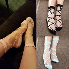 Fashion Women Lady Bowknot Sheer Mesh Knit Frill Trim Transparent Ankle Socks