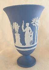 """Wedgwood Porcelain Blue White Jasperware Pedestal Vase 7 1/2"""" tall"""