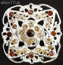 SILVER FLOWER BOUQUET BROOCH BROWN / AMBER DIAMANTE CRYSTAL WEDDING PARTY BROACH