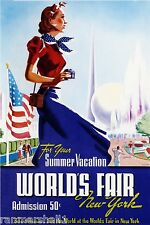 1930s Summer World's Fair New York Vintage U.S. Travel Advertisement Art Poster