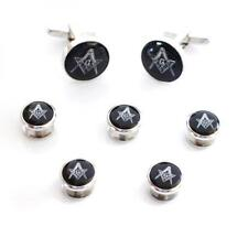 Black & Silver Masonic Cufflinks with G & 5 Button Studs Mason Formal Gift Box