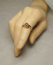 14k Gold Solitaire Red Ruby&Diamond .24ct Ring Sz. 6.75