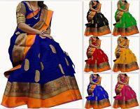 Bollywood Pakistani designer cotton silk saree indian KANCHIPURAM Traditional KP