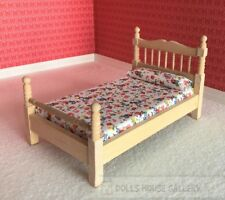 Bare Wood Single Bed, Dolls House Miniature Furniture, 1.12 Scale, Bedroom