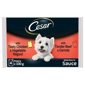52 x 100g Cesar Deliciously Fresh Dog Food Pouches Favourite Recipes in Sauce