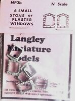 6 small Stone Windows Part NP3b UNPAINTED N Gauge Scale Langley Model Kit Metal