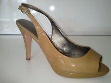 John Lewis Coffee coloured patent leather heeled sling backs size 5
