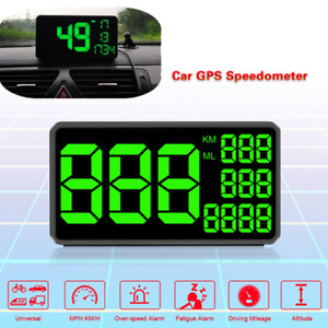 Full Screen 6.2'' Universal GPS based Speedometer HUD MPH KM/h w/Mount Bracket