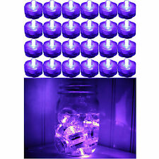 Purple ~ 24 Pack Submersible Waterproof Battery Led Tea Light ~ Wedding Decorati