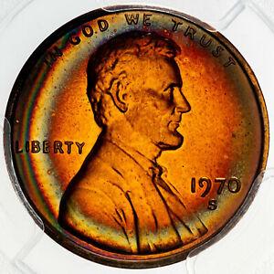 1970-S LINCOLN CENT LARGE DATE PCGS PR67RD UNC COLOR NEON RAINBOW TONED BU