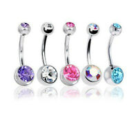 5pcs 14G Mix Body Jewelry Piercing Crystal Double Gem Belly Bar Button Ring