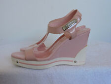 BCBGIRLS PINK WHITE LEATHER OPEN TOE WEDGE SANDAL HEELS SZ 6
