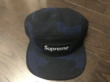 Supreme Camo Wool Camp Cap Hat FW17 Navy