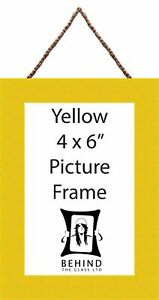 """Hanging Handmade Yellow Picture/Photo Frame - 4x6"""" by Behind The Glass"""