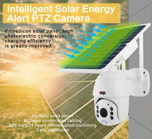 4G Solar Power PTZ Security Camera Outdoor CCTV PIR Motion Night Vision IP66 64G