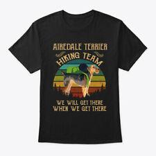 Airedale Terrier Hiking Team Dog Gildan Tee T-Shirt Cotton Crew neck