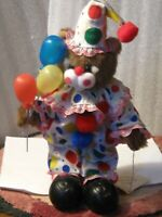 "artist 1986 clown Bear 12"" CLEO clown outfit, shoes, balloons jointed  PRISTINE"