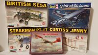 Lot of 5 Model Airplane Kits Revell Spirit St Louis Lindberg Minicraft PBY-5A