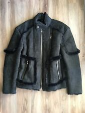 True Religion Mens Black Leather Shearling Moto Jacket Size M NWT