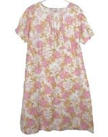 Victoria Hill Womens White/Pink/Orange Floral Short Sleeve Dress Size 24