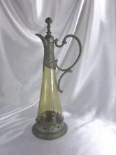 """RARE ANTIQUE 1890s ART NOUVEAU AMBER GLASS & PEWTER 11"""" CRUET CLARET PITCHER"""