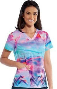 "Barco One Scrubs #5107 V-Neck Print Scrub Top in ""Summer Sun"" Size XL"