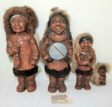 Family of 4 Original Hand-Made in Alaska Carved Wooden NUNI Dolls With Real Fur