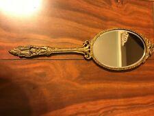 Vintage Brass Hand Held Mirror Vanity Ornate Victorian double Sided Mirror