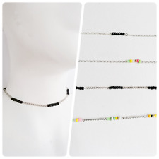 GLASS BEADS CHAIN retro holiday Bohemia party choker collar necklace gift UK Ⅰ