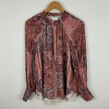 Witchery Womens Blouse Top 16 Pink Paisley Long Sleeve Round Neck
