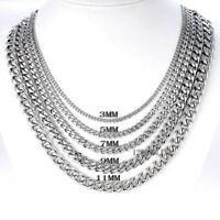 18-36'' MENS Stainless Steel 3/5/7/9/11mm Silver Tone Cuban Curb Chain Necklace