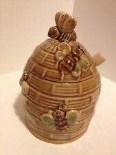 VINTAGE BROWN BEE HIVE HONEY POT WITH DIPPER BUMBLE BEE PATTERN AND LID