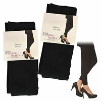 3X LADIES WOMEN THERMAL FOOTLESS FLEECE LINED WINTER WARM TIGHTS THICK BLACK