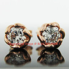 Cubic Zirconia Stud Rose Gold Fine Earrings