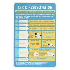 CPR & Resuscitation Chart DRSABC Pool Spa Safety Sign Stickers 600mmx400mm