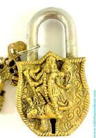 Goddess Kali Design Brass Lock Padlock, Handmade Antique Design, Unique Collecti
