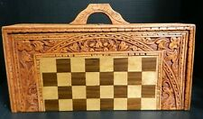 Vintage Hand Carved Aztec Wooden Chess / Backgammon Set In Carrying Case Excell