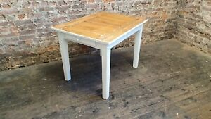 Solid Oak Kitchen Dining Table Stripped Oiled Top Farrow and Ball White Legs.
