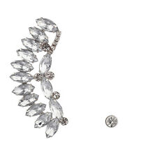 Lux Accessories Crystal Wing Ear Cuff Bridal Stud Earring Set