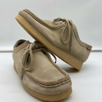 Clarks Womens Wallabees Oxford Shoes Beige Lace Up Moc Toe Low Top 8 M