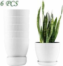 Mhonniwa 6 Set 6' Plastic Planters with Drainage Pallet White Plant Flower Pots