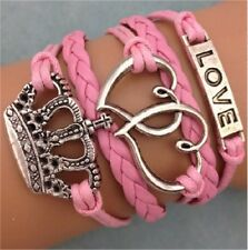 Infinity Love Heart Crown Friendship Leather Charm Bracelet Plated Silver (USA)