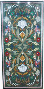 """48"""" x 24"""" Green Marble Table Top Multi Color Semi Precious Stone Handmade Decor"""