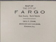 "Vintage 1900 FARGO NORTH DAKOTA Atlas Map 11x14"" Old Antique CENTENNIAL MOORHEAD"